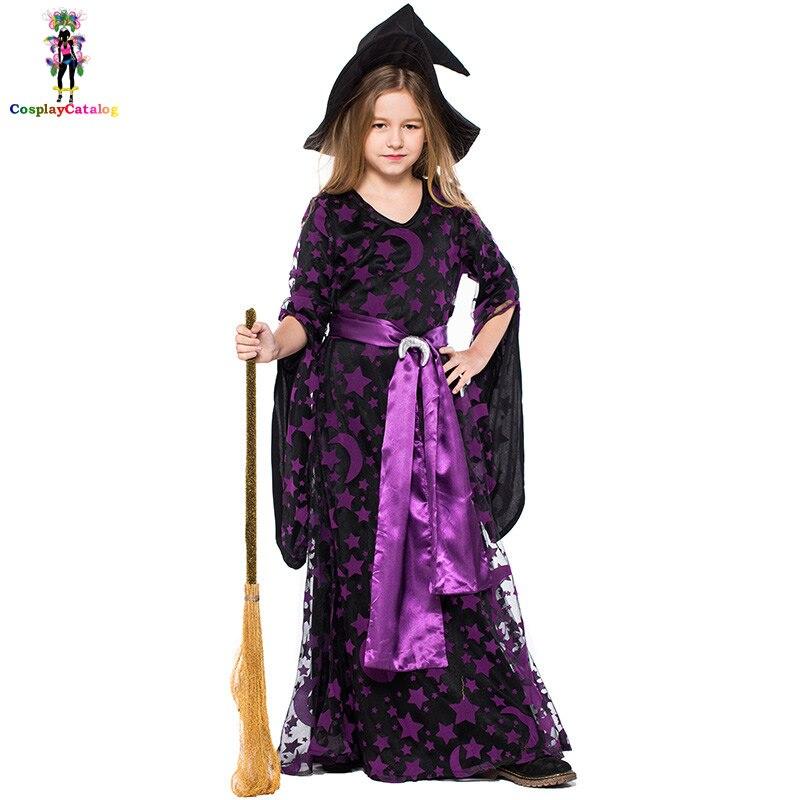 Kids Purple Stars/Moon Magic Witch Children Costume Spellbound Amethyst Pentagram Witch Dress Halloween Girl Uniforms 110-150cm