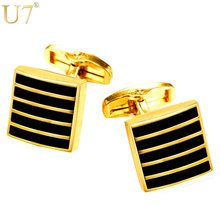 U7 New Classic Black Cufflinks For Mens Gold Color Suit Stripe Square Cuff Links Buttons Clip Men Jewelry Wholesale C008(China)