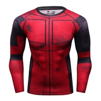 OEM Digital Printing Factory Wholesale High Quality Marvel Superhero T Shirt Compression Tights Muscle Quick Dry Tees