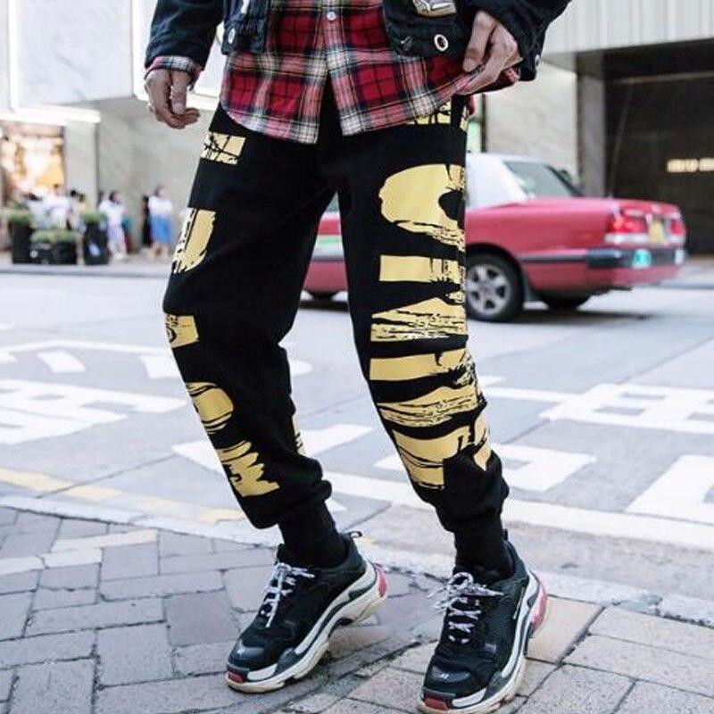 Supper Coole Männer Jogger Mode Hip Hop Harem Joggers Dünne Casual Hosen Vergoldung Print Street Harajuku Skateboard Jogginghose