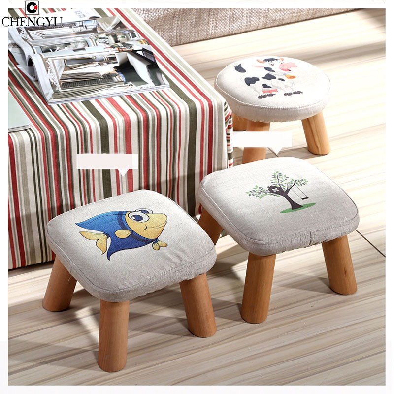 Modern Stool Solid Wooden Washable Fabric Stool Solid  Fabric Linen Creative Children  Small Chair Sofa Round Bench 28*28*20cm modern stool solid wooden stool ottoman stool solid fabric linen creative children small sofa round taburete banquinho madeira