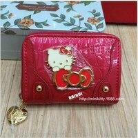 Thời trang chủ thẻ mèo ví dây kéo phụ nữ dễ thương bìa hộ chiếu chất lượng cao PU Red color mini du lịch ví quà tặng cho trẻ em