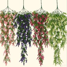 1 PCS 80cm Hanging flowers Artificial Lavender Flower For Wall Wedding Holiday Party Home Garden decoration rattan 4 colors