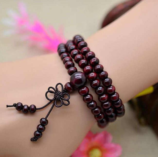 Naturalne 108*6mm drzewo sandałowe buddyjski budda koraliki medytacyjne bransoletki dla kobiet mężczyzn biżuteria sznur modlitewny Mala bransoletka-różaniec