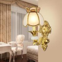 Copper Wall Lamp with Frosted Glass Retro Night led Light Vanity Decoration Wall Sconce Bedroom Bedside Wall Light Copper Lamps
