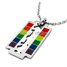 Gay Flag Rainbow Razor Blade Pendant - & Lesbian Pride Necklace  FH890205