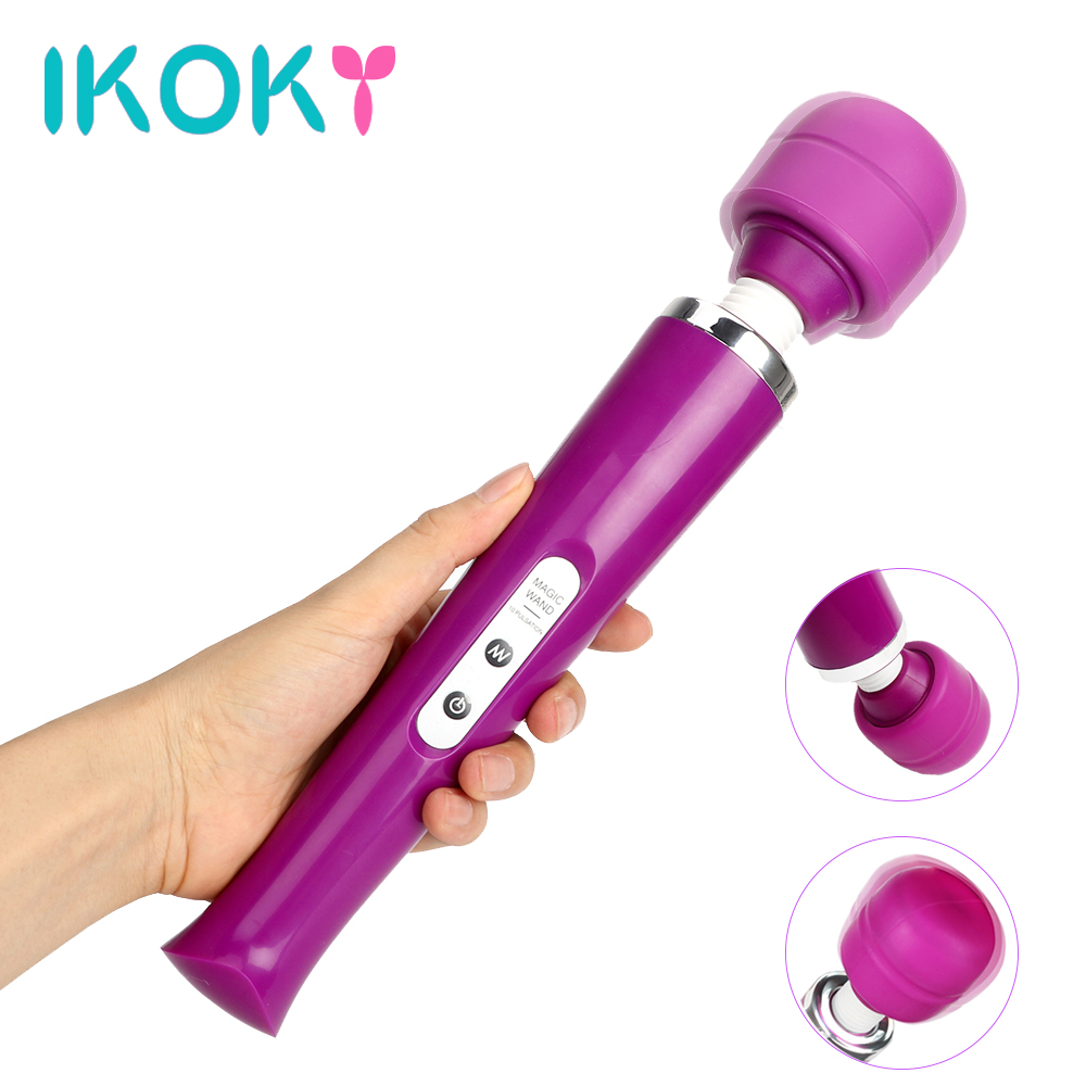 Ikoky potente vibrador grande AV varita mágica sexo Juguetes para las mujeres 10 velocidad clitoris estimulador adulto Juguetes sexuales punto G masajeador