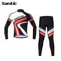 Santic для мужчин осень длинный рукав Велоспорт Джерси Набор Pro команда костюмы велосипедный жакет брюки Велоспорт мягкий Mtb горный велосипед