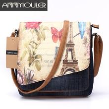Annmouler Bolso de hombro clásico para mujer, bandolera de moda, de tela vaquera, estampado de Torre Eiffel, informal