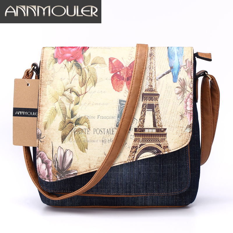Annmouler Vintage Shoulder Bag Women's Fashion Demin Crossbody Bag Eiffel Tower Print Messenger Bag For Ladies Casual Tote Bags