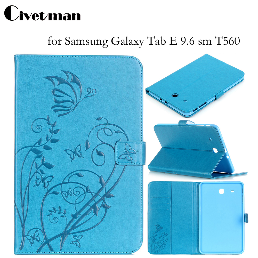 Civetman Tab E T560 Flip PU leather Case Cover stand Flower print case stand for SAMSUNG Galaxy Tab E 9.6 sm T560 T561 SM-T561 bf luxury tablet case for samsung galaxy tab e 9 6 sm t560 sm t561 t560 t561 pu leather flip cute book stand cover protector