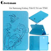 Civetman Tab E T560 Flip PU leather Case Cover stand Flower print case stand for SAMSUNG Galaxy Tab E 9.6 sm T560 T561 SM-T561