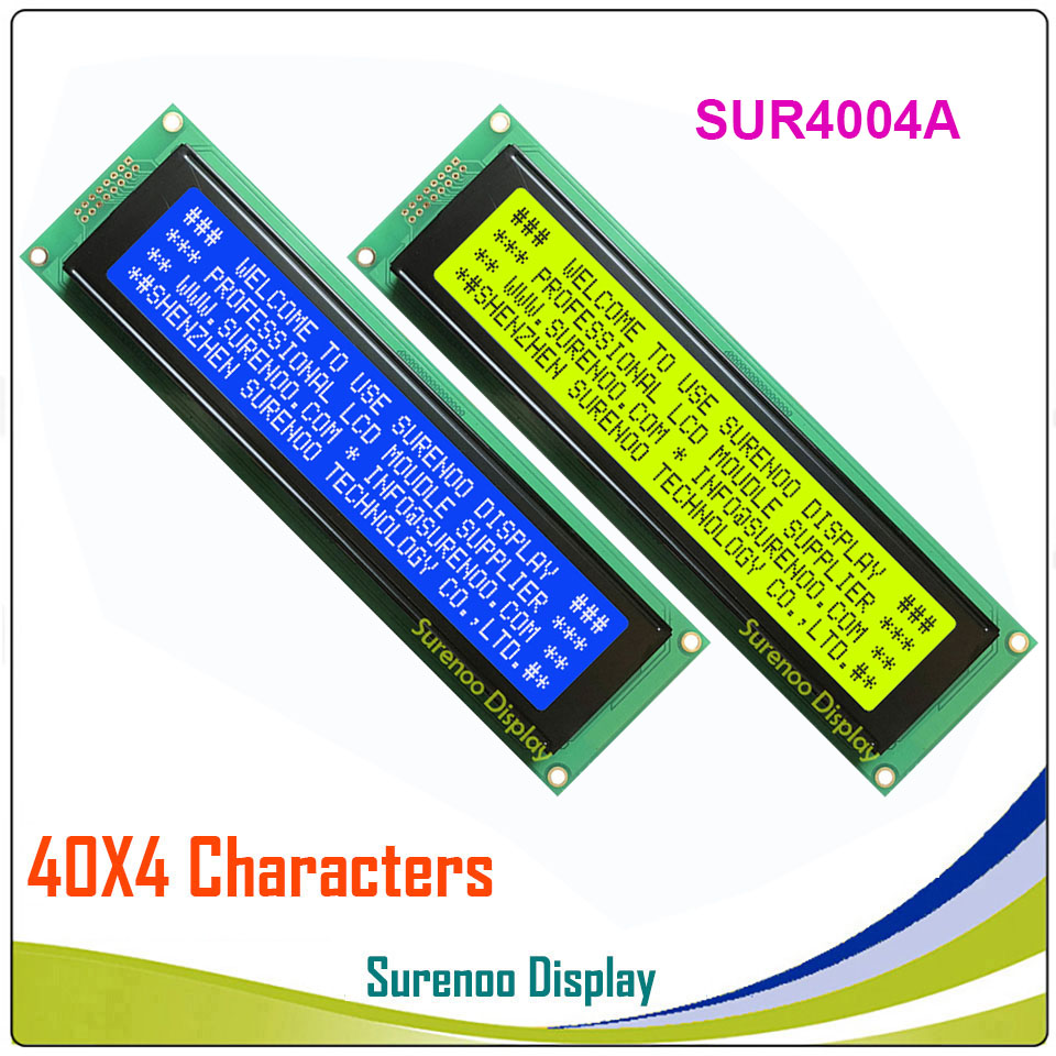 404 40X4 4004 Character LCD Module Display Screen LCM Yellow Green Blue With LED Backlight Build-in SPLC780D Controller