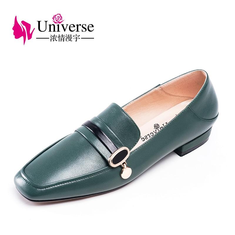 Universe Real Leather Vrouwen Platte Schoenen Loafers Vierkante Teen Vrouwen Platte Schoen Zapatos Mujer Slip op Casual 2 cm handgemaakte Zwarte J072-in Platte damesschoenen van Schoenen op  Groep 2