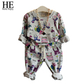 HE Hello Enjoy girls clothes 2016 Autumn kids clothes girls Graffiti Casual clothes + Pants toddler girl clothing
