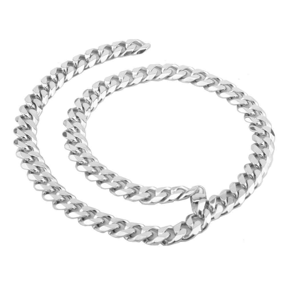 TOPGRILLZ 15MM Stainless Steel Silver Cuban Chain Fashion Xxxtentacion R.I.P Commemorative Choker Men Hip Hop Jewelry Gift