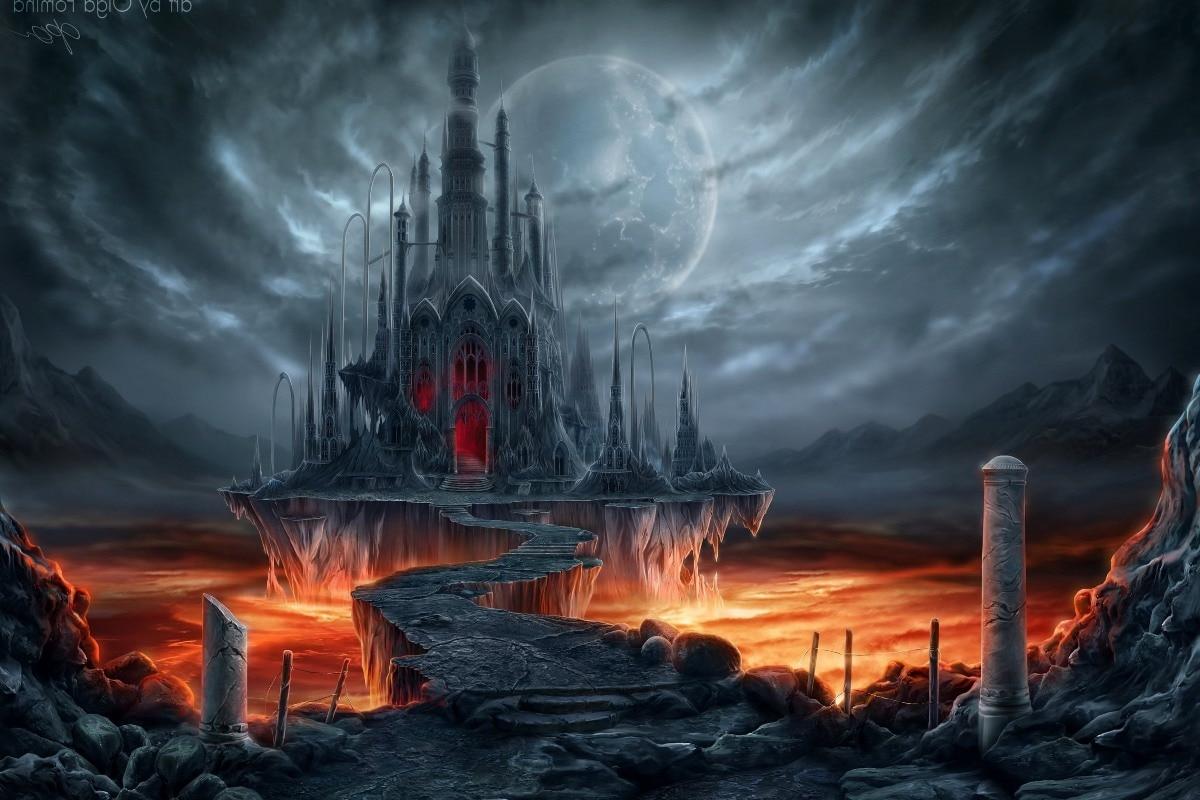 custom print fabric poster fantasy creepy castle among hot