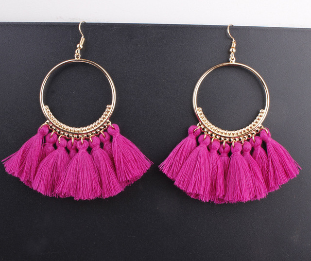 LZHLQ Tassel Earrings For Women Ethnic Big Drop Earrings Bohemia Fashion Jewelry Trendy Cotton Rope Fringe Long Dangle Earrings 3