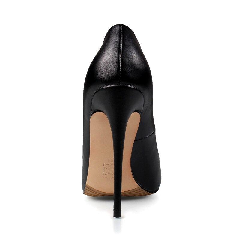 Marque chaussures pour femme talons hauts chaussures pour femmes Pompes chaussures à talons aiguilles Pour Les Femmes Noir talons hauts 12 CM PU En Cuir chaussures de mariage B-0051 - 3