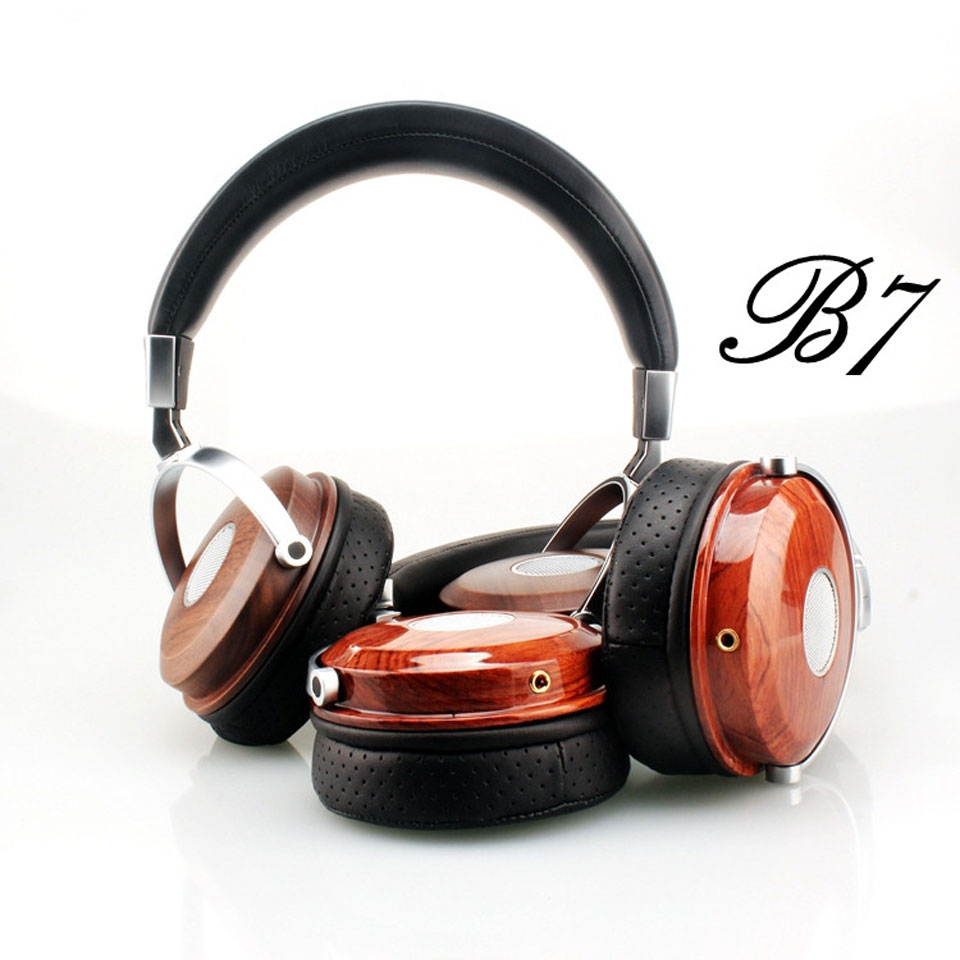 BLON BOSSHIFI B7 Wooden Headphones Headset DJ Metal Hifi Headphone Stereo Open Monitor Earphone With Beryllium Alloy Driver 100% original high blon b6 hifi wooden metal headband headphone headset earphone with beryllium alloy driver leather cushion