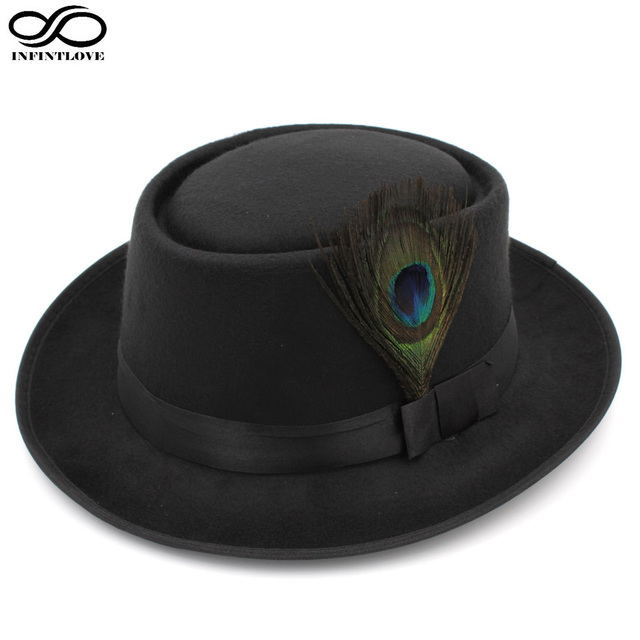 LUCKYLIANJI Unisex Retro Vintage Wool Felt Pork Pie Porkpie Hat Cap Oval  Short Brim Peacock Feather Band (One Size 7 1 4 58cm)-in Fedoras from  Apparel ... 395239fc0a86