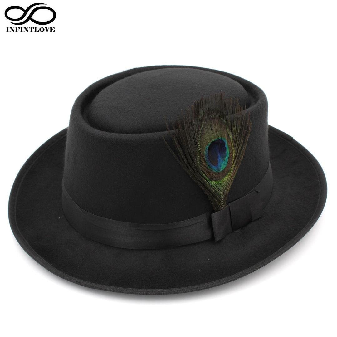LUCKYLIANJI Unisex Retro Vintage Wool Felt Pork Pie Porkpie Hat Cap Oval  Short Brim Peacock Feather Band (One Size 7 1 4 58cm) 5985174d8004