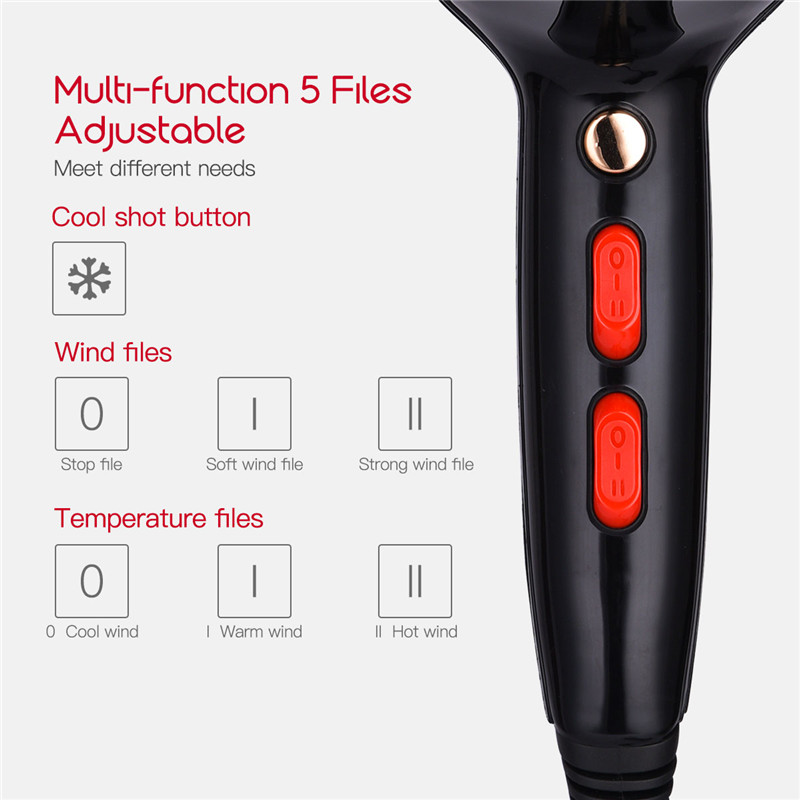 Image 5 - 5000W Professional Hair Dryer With Nozzle Super Power Hair Salon Styling Tools Hair Drier Hot Cold Air Speed Adjust Hair Blower-in Hair Dryers from Home Appliances