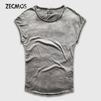 Zecmos Heavy Wash Gray T Shirt Male Slim Fit Vintage T Shirt Man Top Tees Short