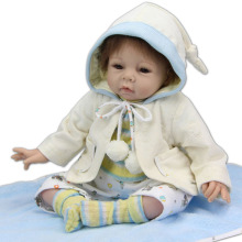 22″ Lifelike Reborn Baby Real Look Cloak Girl Alive Silicone Doll Kits Fashion Gift Collectible Toys House Decorations