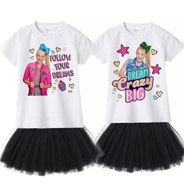 5973ef7fd3386e 2sets/lot Jojo Siwa Girl Summer Clothing Set Fashion Kids Clothes Suit Tops  + Tutu Skirt Dress 2 Pcs Baby Roupas Infantis Menina
