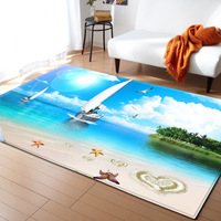 3D Beach Starfish Rugs Memory Foam Mat Flannel Carpets for Living Room Bedroom Area Rug Kids Ocean World Theme Room Decor Carpet