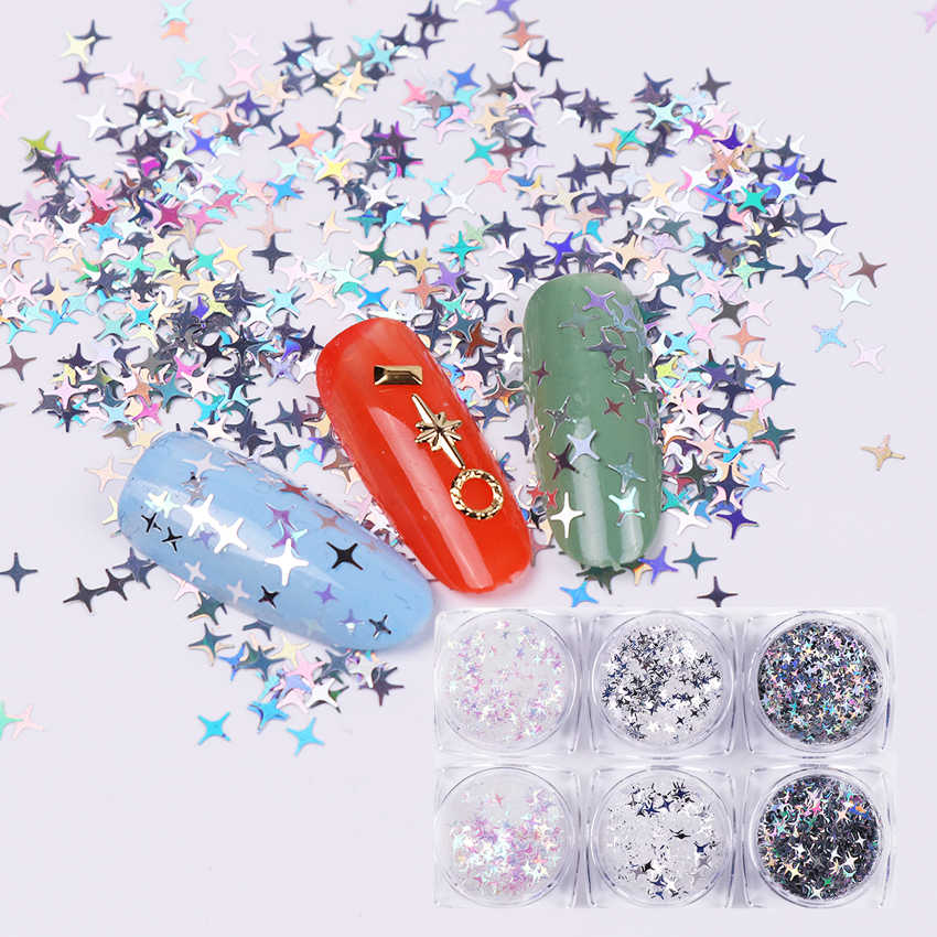 Born Queen 6 Boxes/Set Four Angle Stars Nail Sequins Transparent Holographic Silver Laser Manicure 3D Nail Art Decorations