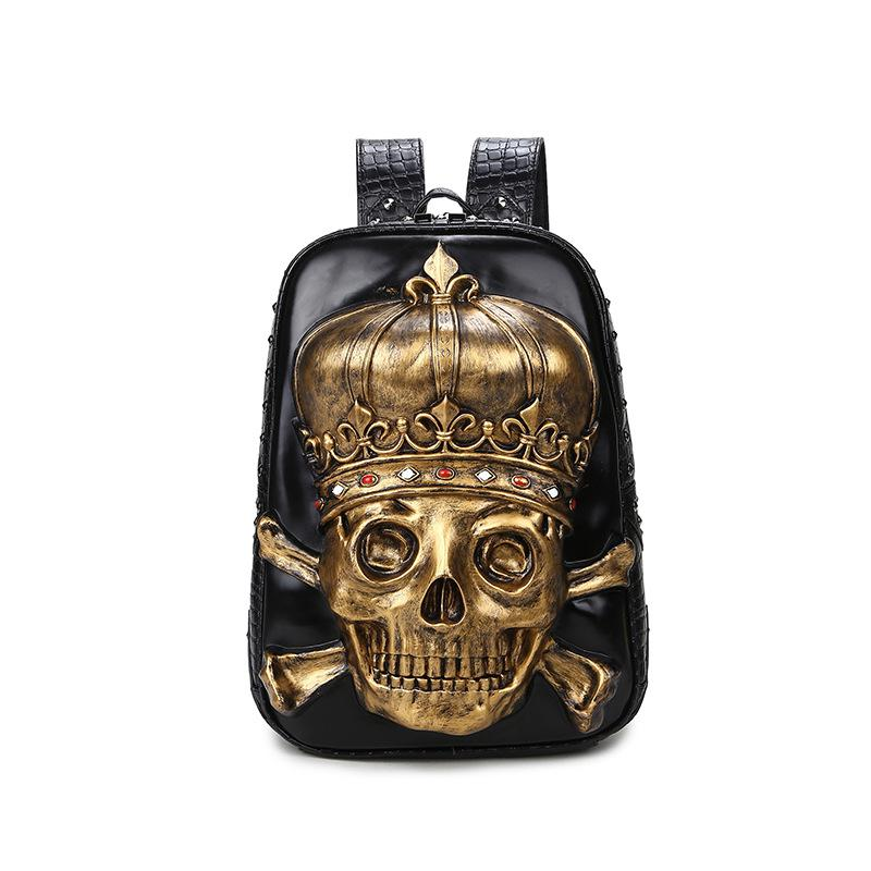 Punk Personality Rivet 3D Skull Backpacks Diamonds Crown Backpack Women PU Leather Shoulder Bags Casual Travel Computer Bag ljt 2017 winter creative personality women shoulder bag 3d stereo cool dog pu leather cute cartoon backpack travel
