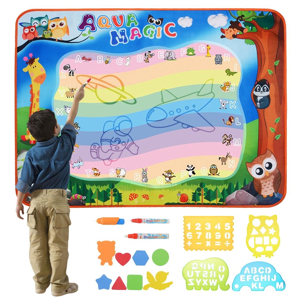 17 pcs/ensemble Fournitures Magiques 100*70 cm D'eau Magique Dessin Peinture Doodle Grand Tapis Écriture avec Stylos Magiques pour enfants en Bas Âge