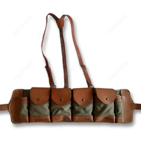 China Czech Army Leather Canvas Hunting Ammo Pouch Magazine Bag 4 Clips Replica CN/104115