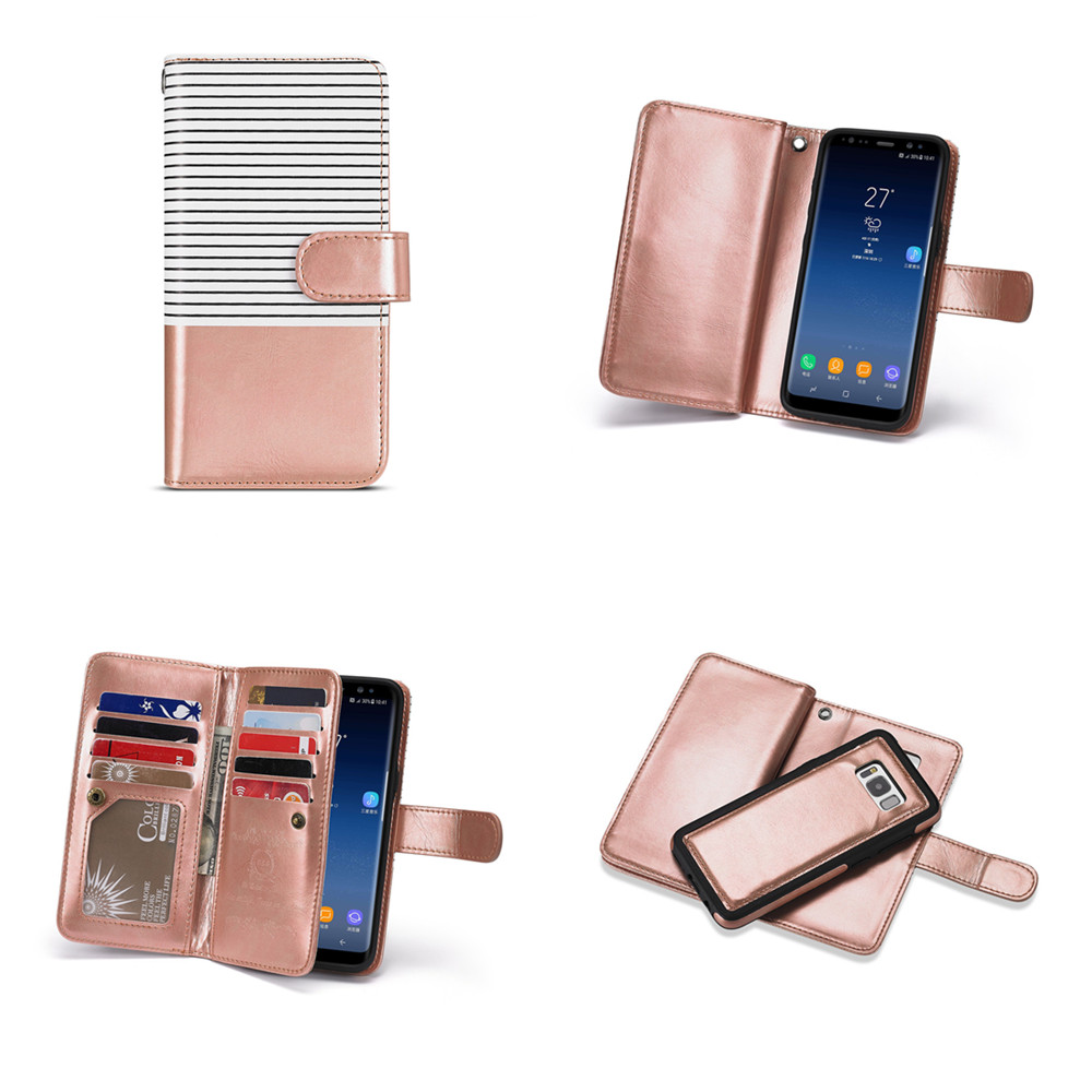 Detachable Flip Phone Case with 9 Card Slots Slim Back Cover Lanyard PU Leather Case for Samsung Galaxy S10 S9 S8 Not8 Note9