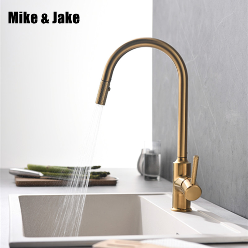 Brushed gold pull out kitchen sink faucet whole brass gold brush Kitchen faucet Pull down cold