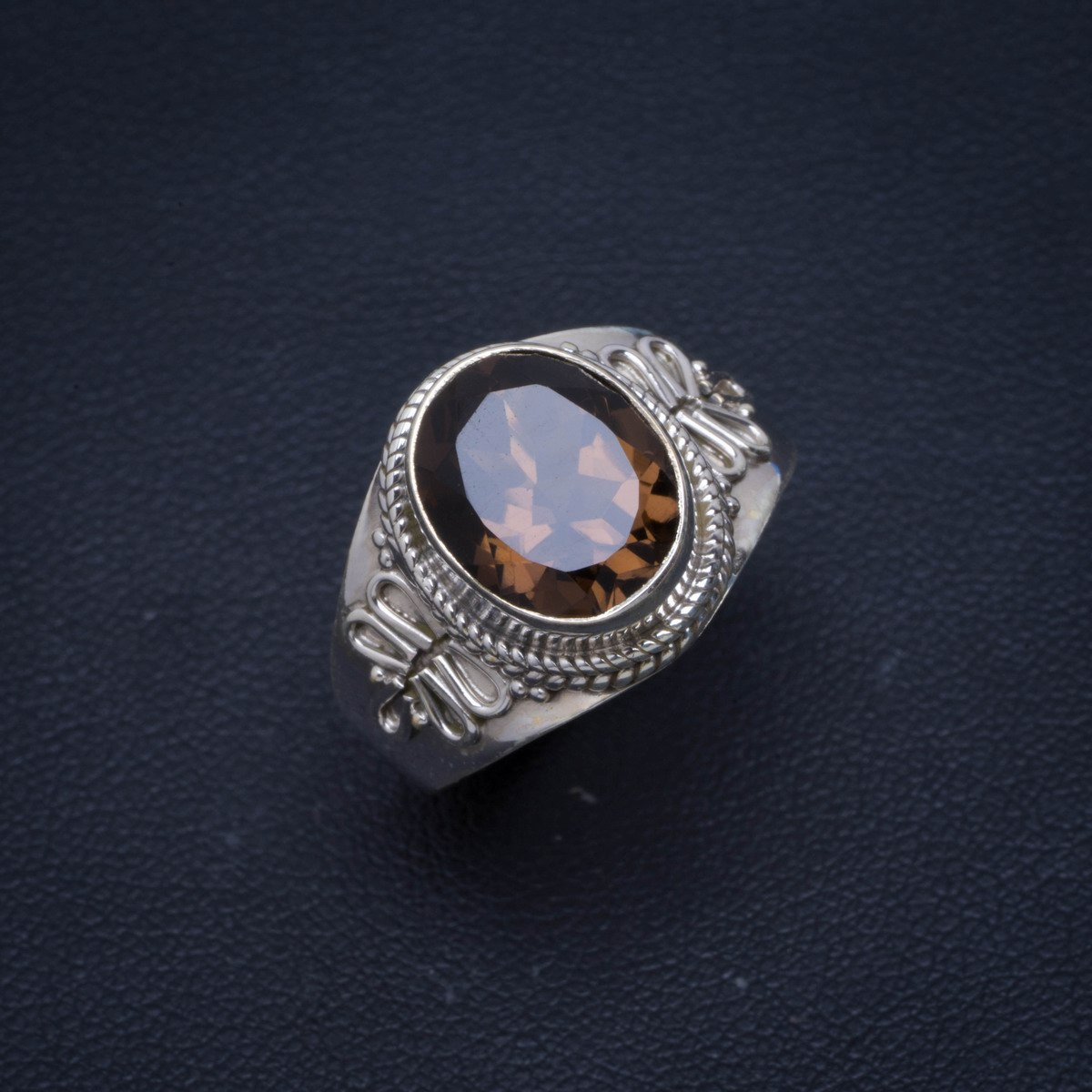 Natural Smoky Quartz Handmade Unique 925 Sterling Silver Ring 9 B1088