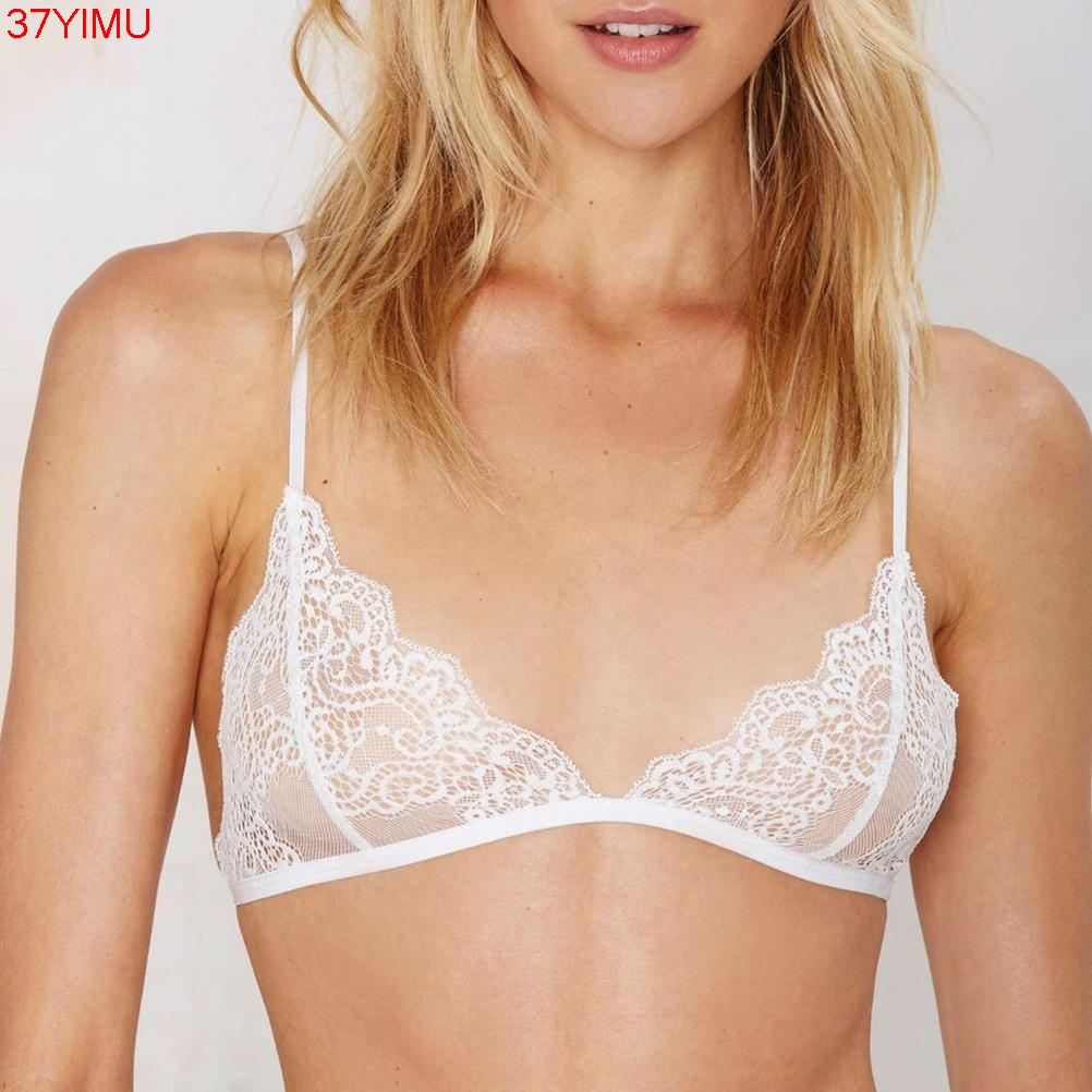Sexy Floral Lace Triangle Bra Bustier Sheer Bralette Unpadded Camis Crop Top White