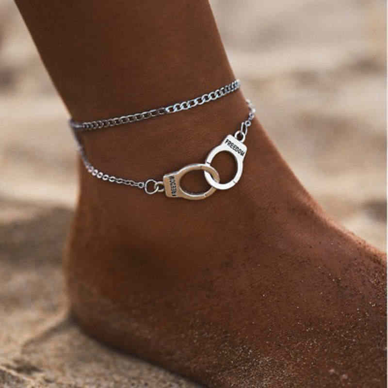 2019 mujeres pulseras corazón Simple sandalias pies descalzos pie joyería de dos capas pie piernas pulsera tobilleras