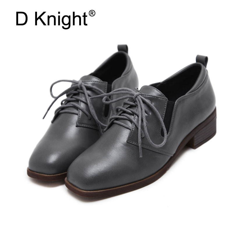 New Arrival Women Casual Low Heeled Vintage Oxford Shoes Fashion Square Toe Lace Up Women Oxfords Size 35-40 Ladies Campus Shoes 2016 new deluxe brand golden goose uomo donna fashion women men casual low cut shoes original box eur 35 46