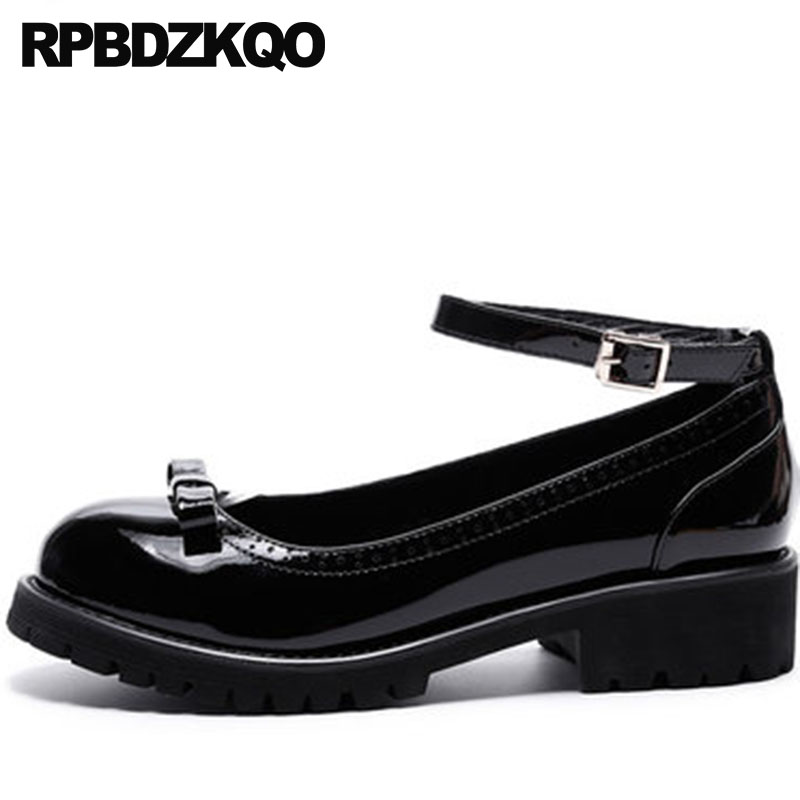 Genuine Leather Thick High Quality Ankle Strap Patent Round Toe Mary Janes Women Shoes Low Heels Black Luxury Size 4 34 Bow ankle strap heels wrap full grain leather t low cut uppers british style high quality round toe single shoes with thick soles