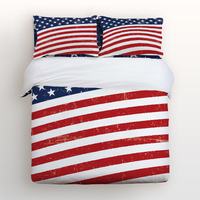 Duvet Cover Set with Zipper Closure, Vintage American Flag Pattern Print, 4pcs Bedding Sets with Relaxed Soft