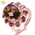 Hutang 7.7ct Natural Somky Quartz & Garnet Rose Gold Plated 925 Sterling Silver Ring Checkerboard Cut Gemstone Fine Jewelry