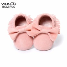 NEW Styles Baby Soft Flock Tassel Moccasins Girl Moccs Baby Booties Shoes Moccasin design baby shoes Newborn shoes Pink color(China)