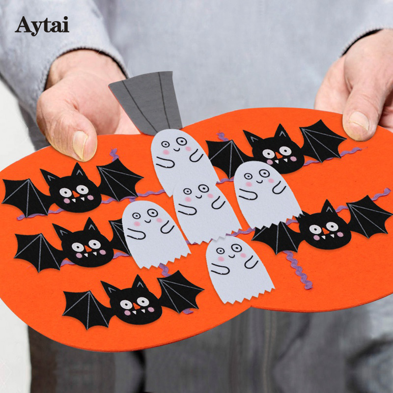 Aytai 1pc Felt Halloween Tic Tac Toe Game 17*17.8 inch Funny Cartoon Pinmkin Bat Felt Ga ...