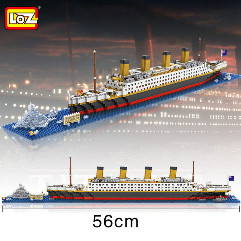 Loz Mini Diamond Building Block Creator 56cm The Titanic Cruise Ship Nanoblock Model Bricks Educational Toys Collection loz mini diamond building block world famous architecture nanoblock easter island moai portrait stone model educational toys