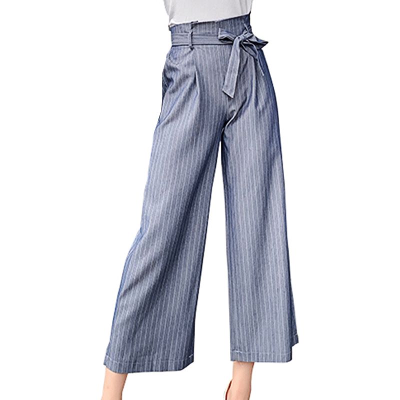 Wide     Leg     Pants   Elastic High Waist Woman Plaid Striped Bottom Capris   Pant   Summer Wear Loose Stripe Bow Tie Women Cropped Trousers