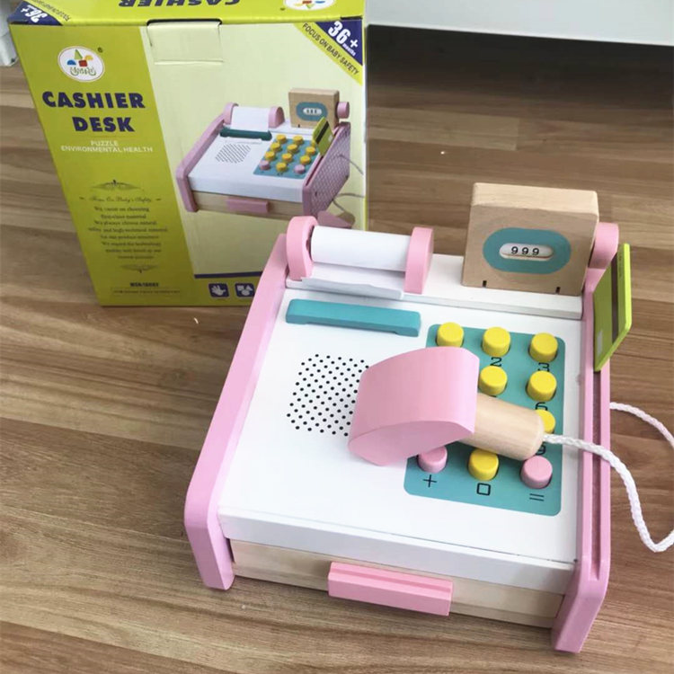 Pink Simulation Cash Register Wooden Toys For Kids Montessori Educational Toys Cashier Desk Baby Toys Birthday Gift