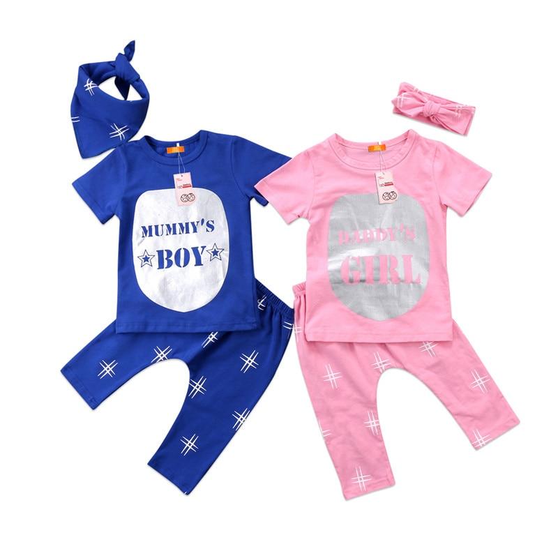 Baby Boys Girls Clothes Set Summer Newborn Kids Boy Girl Cotton T-shirt Long Pants Outfit 2pcs 2018 Newest Bebes Baby Clothing